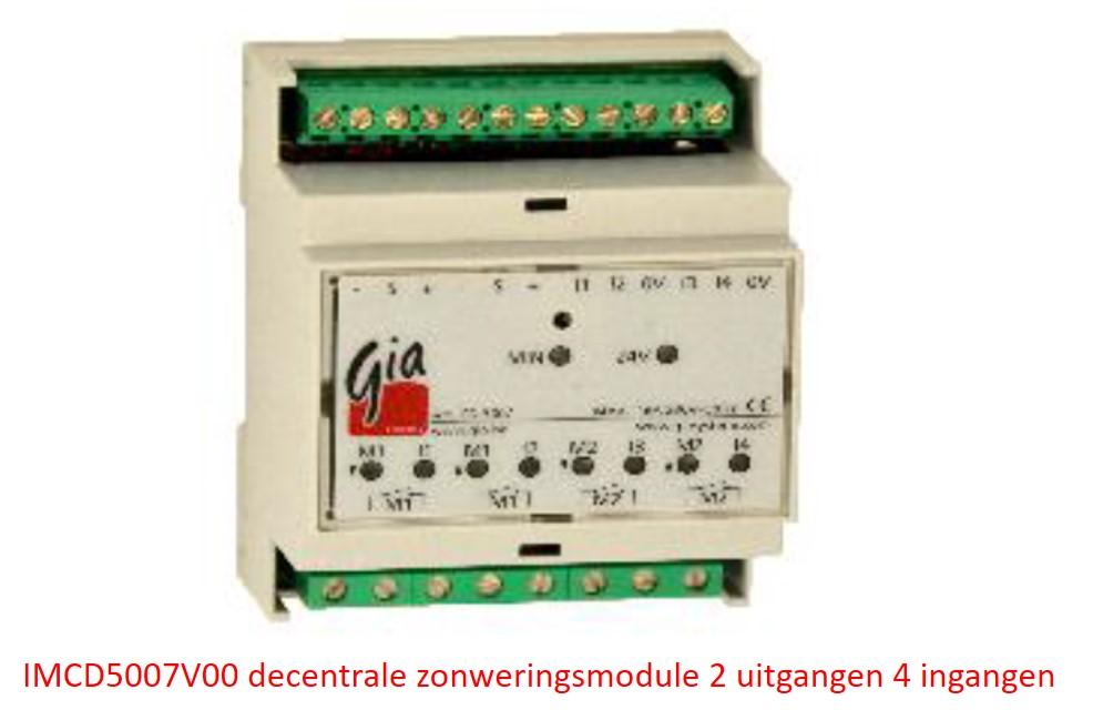 IMCD5007V00 decentrale module voor 2x zonweringsturing - 4 ingangen