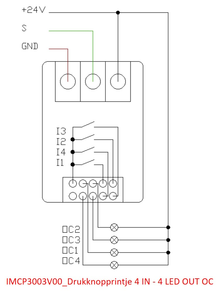 IMCP3003V00_Drukknopprintje 4 IN - 4 LED OUT OC